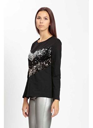 Vitrin Sıfır Yaka Renk Pul Detaylı Sweatshirt